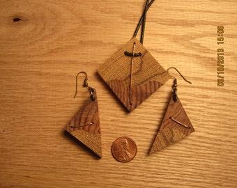 wood pendant and earring set
