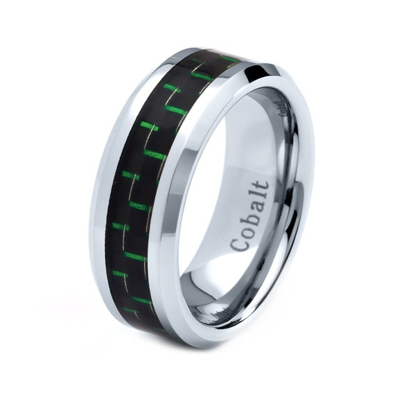 mens cobalt wedding band ring 8mm green carbon by giftflavors