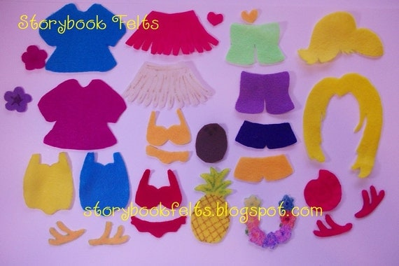 Storybook Felts Felt My Little Island Girl Luau  Dress Up ClothingSet 26 PCS