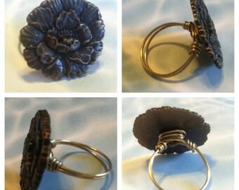 Antiqued Brass Flower Button Ring