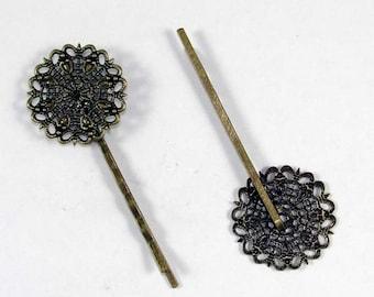 Filigree Bobby Pin Blank / Hair Pin / 8 pcs Antique Bronze 25mm
