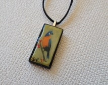 Hand painted Necklace, Bird Necklace Hand Painted Domino, Hand Painted Pendant
