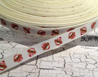 "3 YARDS 3/8"" Preppy BEIGE Sock MONKEY  grosgrain ribbon sold by the yard"