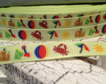 """5 yards 3/8"""" Beach Crab Bucket sand Themed Grosgrain ribbon sold by the yards"""