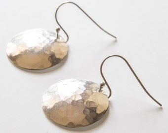 hammered and domed, sterling silver circle earrings