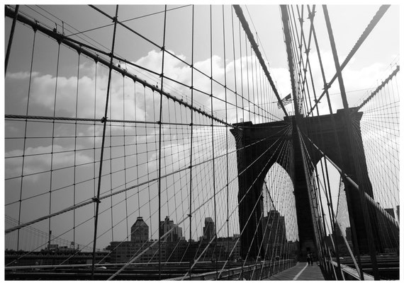 Items similar to brooklyn bridge black and white new for Brooklyn bridge black and white wall mural
