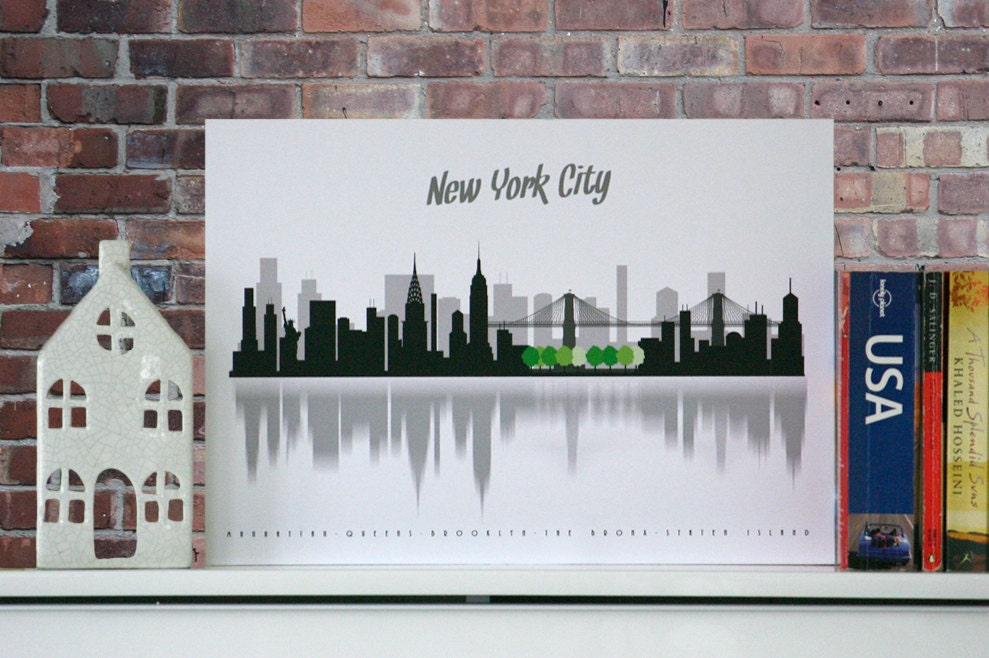 New york city poster minimalist city scape wall decor - New york home decor stores minimalist ...