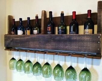 Pallet Wine Rack, Ebony Stain, Distressed, Reclaimed Wood, Rustic Wine Rack, Wall Wine Rack, Order by 12-16 for Christmas