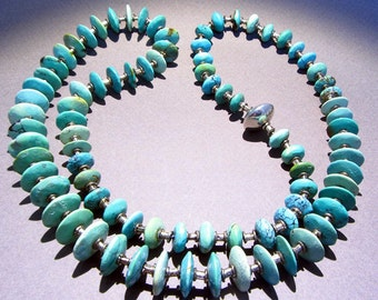 Turquoise Saucer Bead Necklace