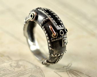 "Silver Unisex Handmade Steampunk Ring ""Succederendum"" | Silver Industrial Men's Ring | Unique Men's Silver Ring"