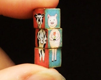 Miniature Funny Cubes, Cubes Amusants with Farm Animals - choose the size