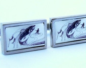 Graphic Action Fishing Cufflinks from an original image