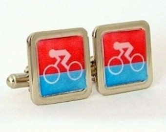 Racing Cyclist Red & Blue Cufflinks from an original graphic image