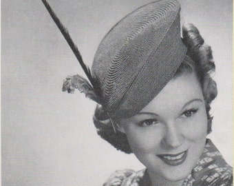 1930s Vintage Feathered Beret Hat Crochet Pattern PDF  Instant Download Get It Now