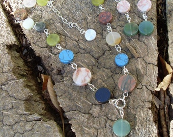 Mixed Gemstone Disc Necklace & Earrings Set