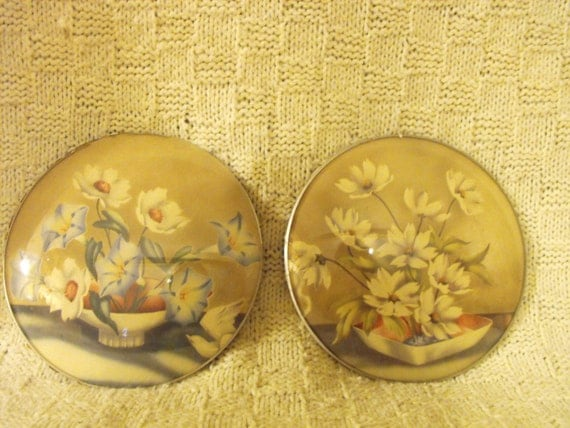 Peter Watson's Studio Convex Bubble Glass Floral pair of round floral pictures
