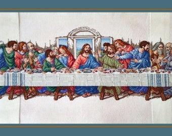 Price Reduced Completed Counted Cross Stitch The Last Supper