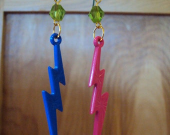 Kitschy Colorful LIGHTNING BOLT Earrings - Pink & Blue Combo