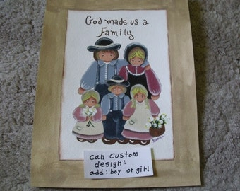Custom family painting..add another child etc.  boy, girl