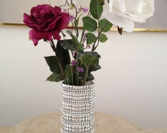 Stunning Silver Square Rhinestone Bling Fully Covered Glass Vase for Weddings, Centerpieces,Special Events & Home Decor