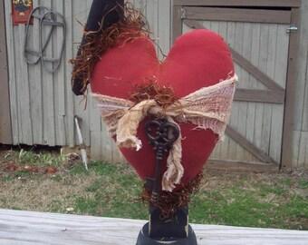 "Primitive ""Key To My Heart"" Shelf Sitter"