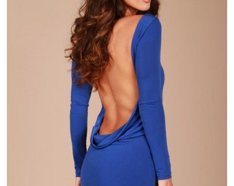 Royal blue Classic backless dress