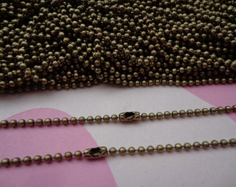 SALE--38 pcs Antique Bronze Ball Chain Necklaces - 27inch, 1.5mm
