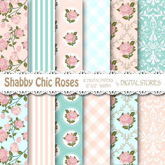 Shabby chic digital paper shabby teal pink floral - Telas shabby chic ...