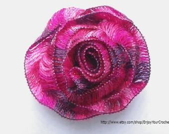 Crochet Rose Pattern, Crochet Flower Pattern, Floral Pattern, Rose brooch, Handmade, Hat Accessory, Scrapbooking,  Crochet pattern, Fall