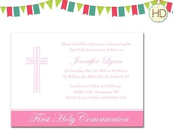 First Communion Invitation, Communion Party, First Holy Communion Announcement, Photo Communion Invitation