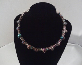 18in gold pl bead necklace