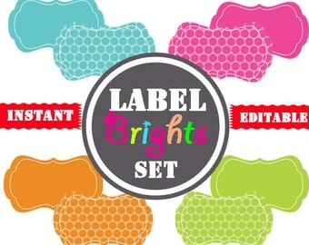 Printable Labels - INSTANT and EDITABLE - Pantry Labels, Bathroom Labels, Office Labels, Organization Tags