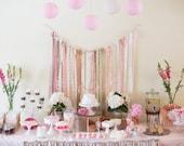 Ribbon, lace and Burlap  Table backdrop, photo backdrop, wedding decor, bat mitzvah decor