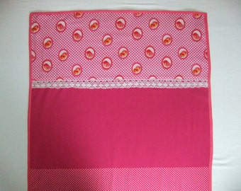 baby blanket, fuchsia with birds, dots and