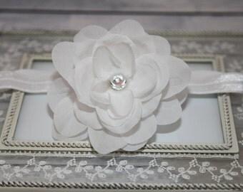 White Rose Headband, White Flower Baby Headband