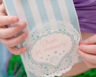 Mermaid Themed Favour Tags / Thankyou Tags / Mermaid Party - INSTANT DOWNLOAD