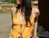 Summer fashion Leather halter top made from gold deer hide, with beaded center piece
