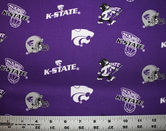 KANSAS STATE University Wildcats NCAA Collegiate Cotton Fabric 1 Yard Sports Team 100% Cotton
