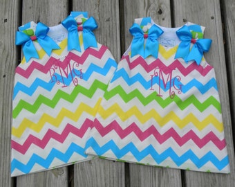 Boutique Custom Personalized Monogrammed Multi-Color Chevron Dress, Aline...Plain or Monogrammed.  CLEARANCE!