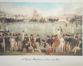 Cricket Match print - Sussex & Kent -40cms x 29cms vintage sport poster print