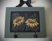 Hand Painted Sunflowers on repurposed cabinet door
