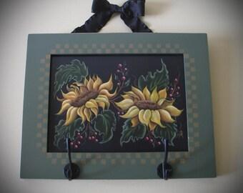 Hand Painted Sunflowers on repurposed cabinet door