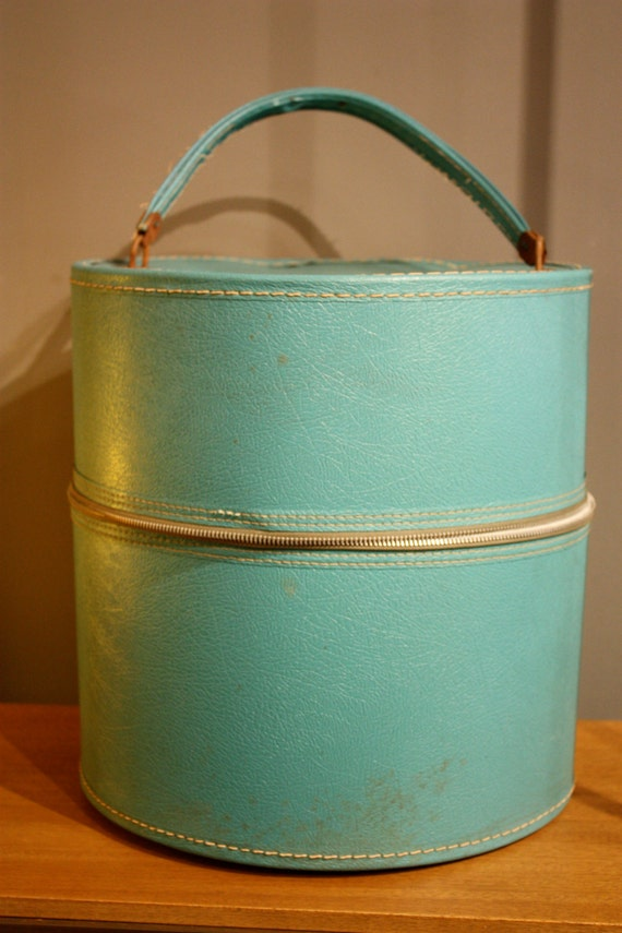 Vintage Turquoise Hat Box with Floral Interior