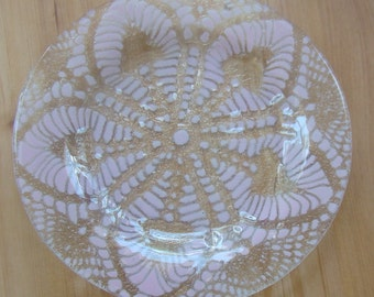 The Kay C. Pink Dessert Plate, Pink Glass Dessert Plate, Fused Glass Plate, Doily Plate