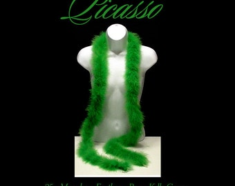 """Marabou Feather Boa KELLY GREEN great for trim, millinery, wings, costumes, puffs, crafts - 1ft (12"""") strips"""
