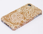 Golden Brown and White Lace Pattern iPhone 4 case /  iPhone 4S case / iPhone 5 case / iPhone 5S case