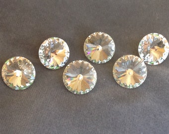 "Crystal button set. Swarovski clear crystal faceted buttons 5/8"" (16mm). Set of 6"