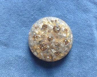 "Large gold button. Gold opaque resin button w/ gold flakes and crystals.  1 1/2"" (38mm) 1 piece"