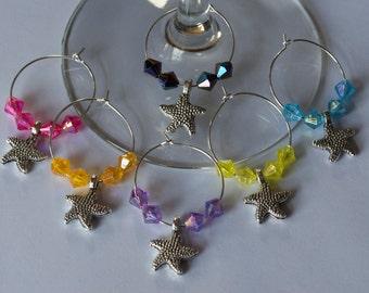 Starfish Wine Charms - Set of 6