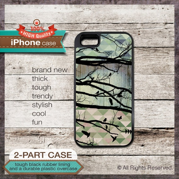 iPhone 4 or iPhone 5 or Samsung Galaxy Case Silhouette of Birds and Triangles Design - Design Cover 97